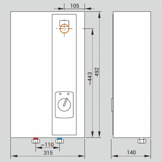 Размеры водонагревателей Kospel EPP-36 Maximus