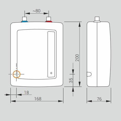 Kospel EPO2 Amicus - размеры проточного нагревателя